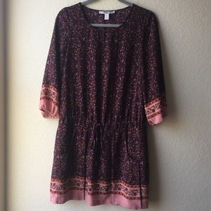 Forever 21 | Long Sleeve Floral Dress | Maroon